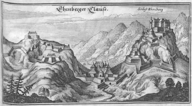 Engraving by Matthäus Merian of the Ehrnberger Klause (1679)