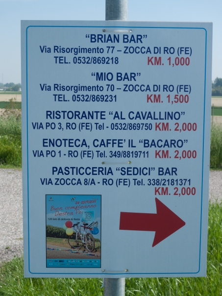 Sign on the Destra Po cycleway showing distances to cafes, restaurants and bars near to the route