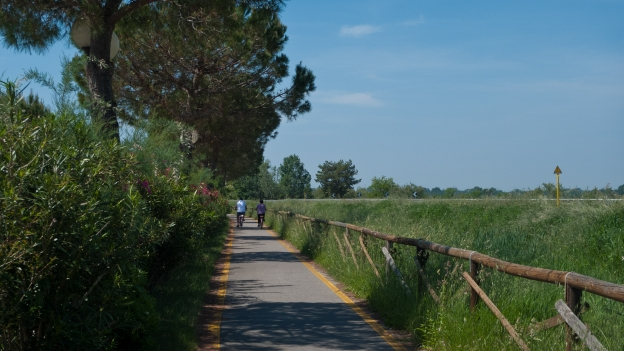 Part of the FVG2 cycleway near Grado (Friuli-Venezia Giulia)