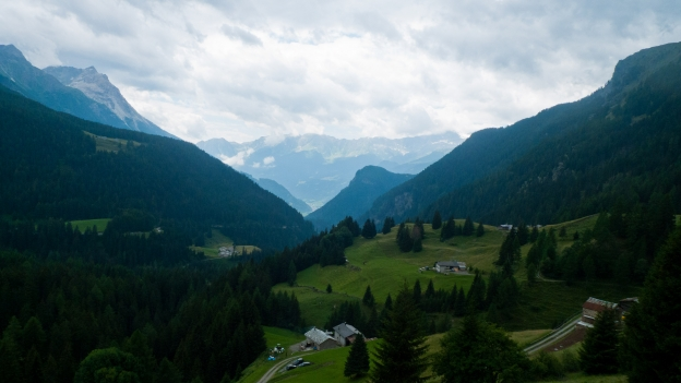 View from the road to the Passo Bernina between Poschiavo and Livigno