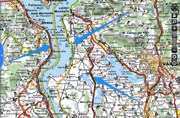 Screenshot from viamichelin.co.uk showing roads around the Lago Maggiore