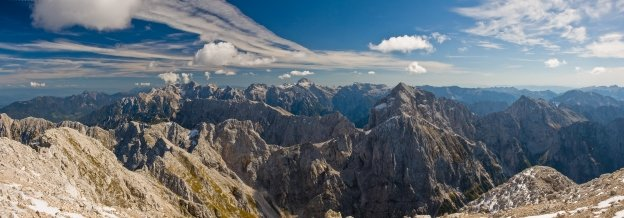 View of the Julian Alps from the Mangart (Slovenija)