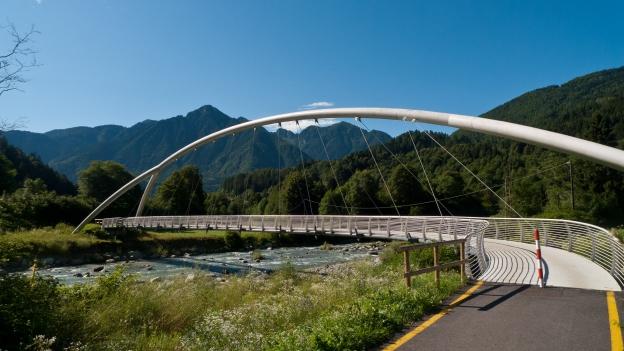 Bridge on the ciclovia Val Rendena (Trentino)