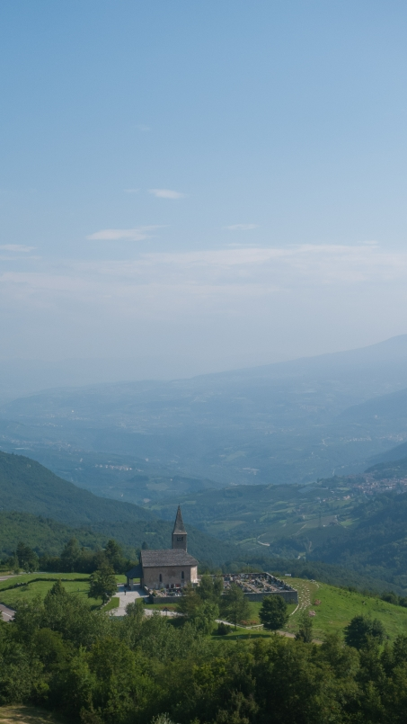 Church with the Adige valley in the background
