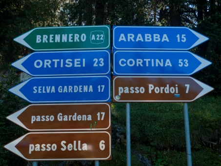 Road signs in the Dolomites near the Sella Ronda
