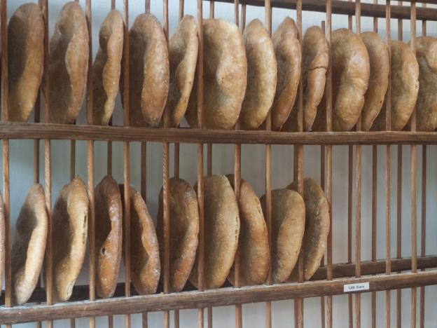schüttelbrot — flat crispbread from the Südtirol on display in a rack in a shop