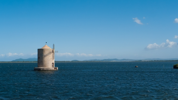 Toscana coast - windmill on the Laguna di Orbetello