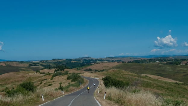 Cyclists in the Val d'Orcia (Toscana)
