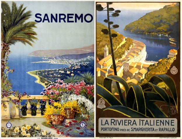 Vintage travel posters from the ENIT tourism promotion authority