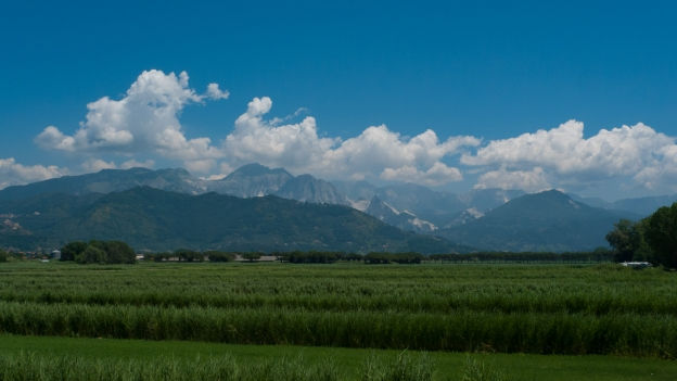 View of the Alpi Apuane from the north Tuscan coast