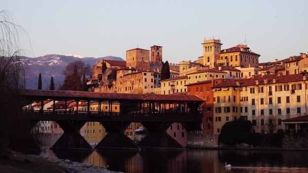 View of the Ponte degli Alpini and Bassano del Grappa