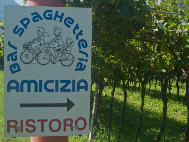 Sign for a bar-spaghetteria on the Valle dell'Adige cycleway