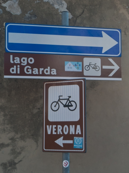 Signs on the Valle dell Adige Sole cycleway