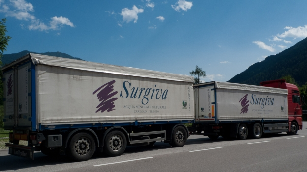 Lorry and trailer (carrying bottled water)