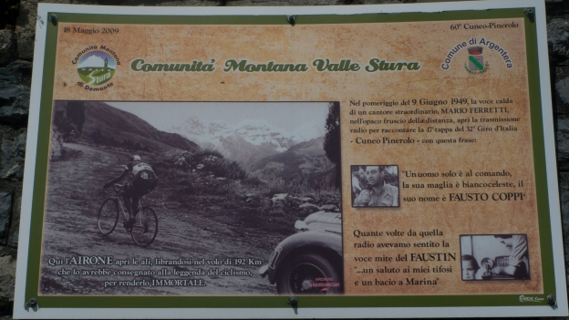 Information panel on the climb to the Colle della Maddelena recording Fausto Coppi's breakaway in the 1949 Giro d'Italia