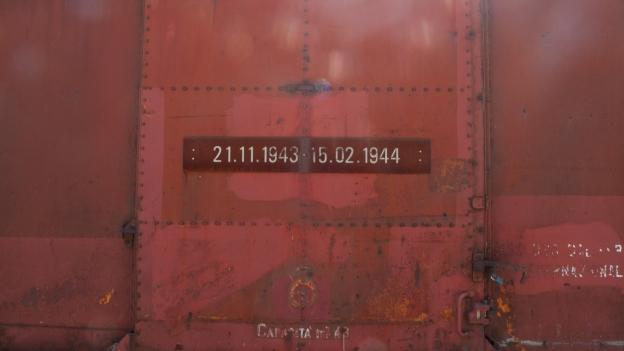 Borgo San Dalmazzo - Memoriale della Deportazione: dates on the side of a train goods wagon recording the dates of the deportations from the station