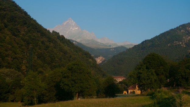 The Valle Po with Monviso in the distance