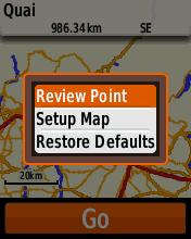 Garmin eTrex20 screenshot: review POI