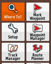 Garmin eTrex20 screenshot: Where To?