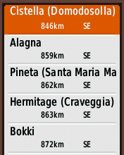 Garmin eTrex20 screenshot: select campsite POI