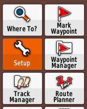 Garmin eTrex20 screenshot: setup