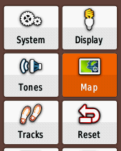 Garmin eTrex20 screenshot: set up map