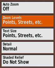 Garmin eTrex20 screenshot: set POI zoom level