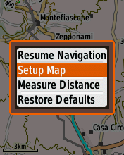 Garmin eTrex20 screenshot: set up map menu option