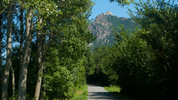 The Ciclostrada Val di Susa with the Sacra di San Michele in the distance