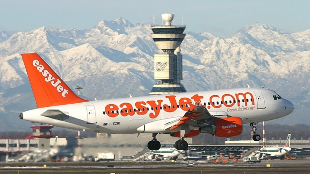 Easyjet flight landing at Milano Malpensa with the Alps in the background
