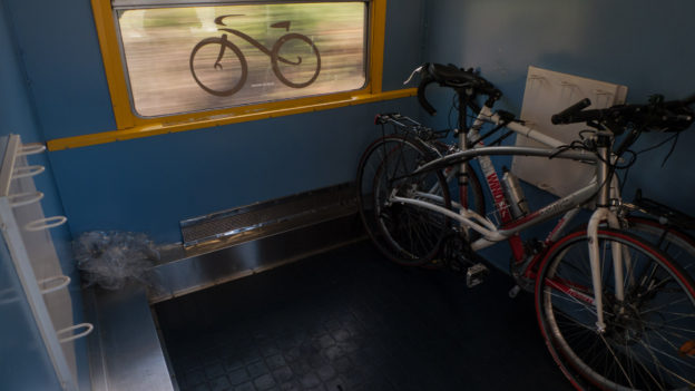 Bike compartment on the Paris-Nice sleeper train