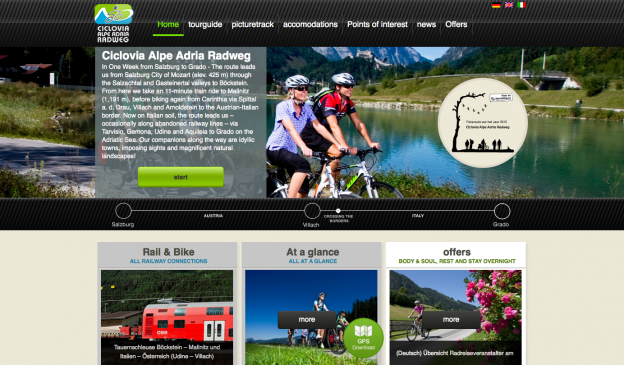 Screenshot of the alpe-adria-radweg.com home page
