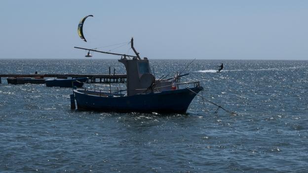 Kitesurfer on the Sicilian coast near Marsala