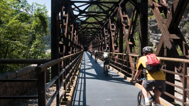 Ciclovia Alpe-Adria Radweg (FVG1): cyclists crossing the the Fella river near Chiusaforte using an old railway bridge