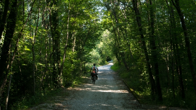 Veneto cyclist on the cycleway between Ospedeletto and Gemona del Friuli