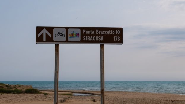 Sicilia coast: sign on the SIBIT cycle route