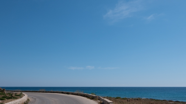Coastal road between Portopalo di Capo Passero and Marzamemi