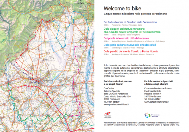 Screenshot from the Pordenone Welcome in Bike booklet showing the routes that link together to form a circular tour (not actual size)