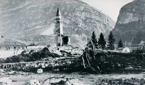 Contemporary picture showing the campanile of the church at Pirago and the ruins of the surrounding village