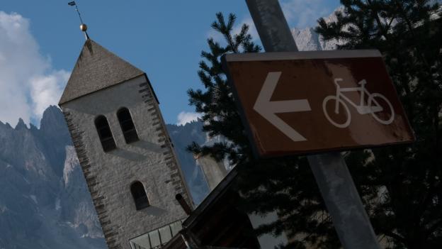 Innichen (San Candido) sign on the Drauradweg (Ciclabile della Drava) cycleway