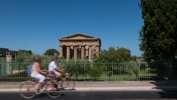 Cycling past the Paestum Archeological site