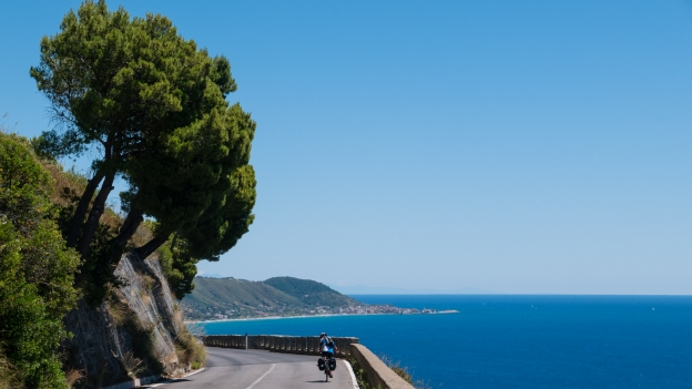 Cyclist on the Costiera Cilentana near San Nicola a Mare (Campania)