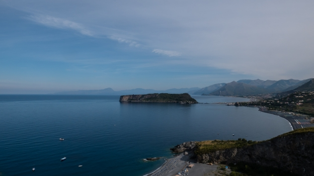 Calabria coast: on the road to San Nicolà Arcella, looking back towards Praia a Mare and the Isola di Dino