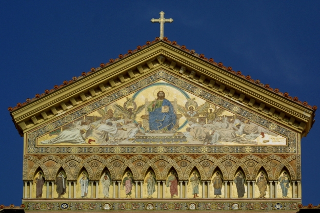 Amalfi: the facade of the duomo (cathedral) showing a mosaic with Christ surrounded by angels.