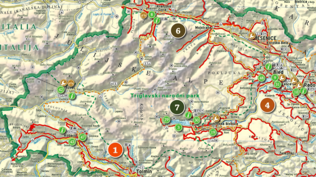 Detail from the cycling Slovenija pdf map.