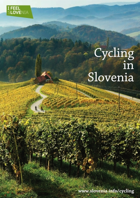 Cover of the Cycling in Slovenia guide showing cyclist in the Slovenian wine country
