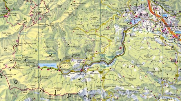 Detail from the Freytag & Berndt 1:200,000 map of Slovenija.