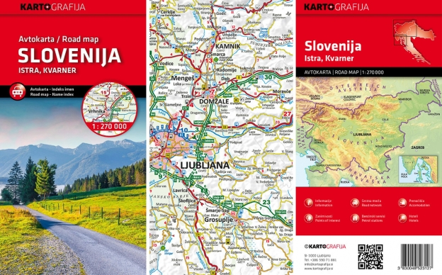 Kartografija Avtokarta (Road map) of Slovenija. 1:270,000.