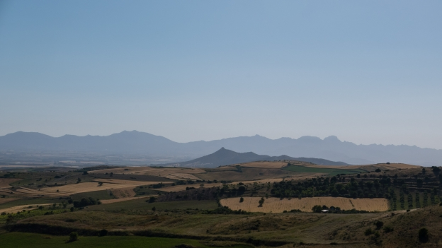 View from the road to Villanovaforru, looking east towards San Gavino Monreale and beyond that the mountains of the west coast