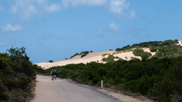Cyclists on the road through the Piscinas dunes on the way to the beach